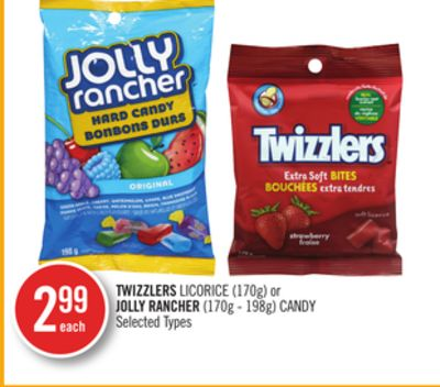 Twizzlers Licorice (170g) or Jolly Rancher (170g - 198g) Candy