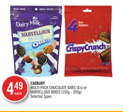 Cadbury Multi-pack Chocolate Bars (4's) or Marvellous Mixes (150g - 200g)