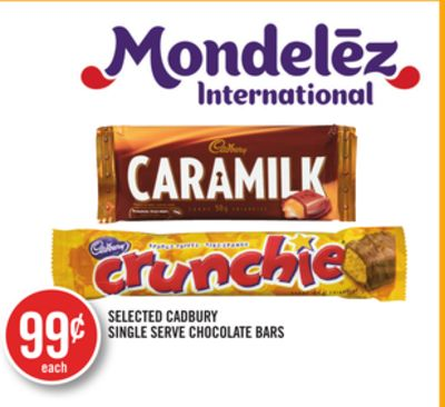 Selected Cadbury Single Serve Chocolate Bars