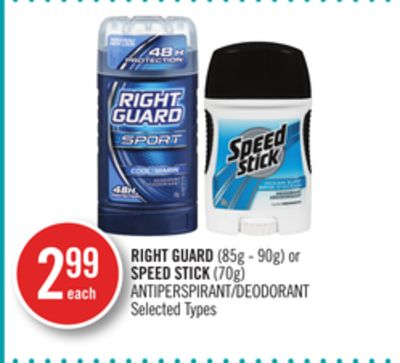 Right Guard (85g - 90g) or Speed Stick (70g) Antiperspirant/deodorant