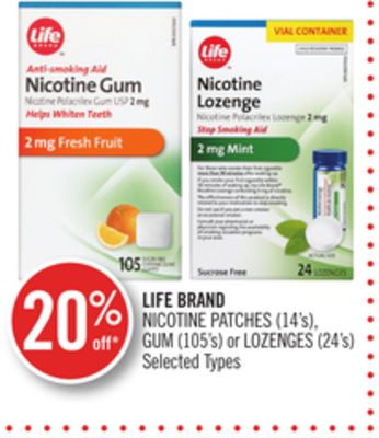 Life Brand Nicotine Patches (14's) - GUM (105's) or Lozenges (24's)