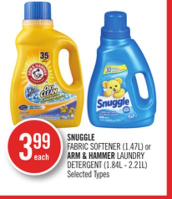 Snuggle Fabric Softener (1.47l) or Arm & Hammer Laundry Detergent (1.84l - 2.21l)