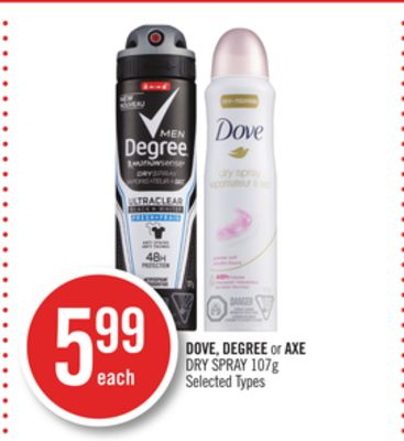 Dove - Degree or Axe Dry Spray 107g