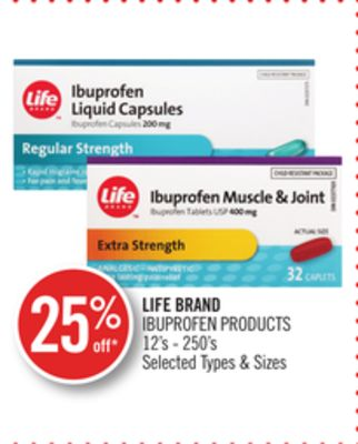 Life Brand Ibuprofen Products 12's - 250's