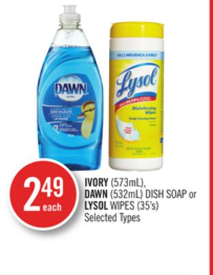 Ivory (573ml) - Dawn (532ml) Dish Soap or Lysol Wipes (35's)