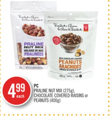 Praline Nut Mix (275g) - Chocolate Covered Raisins or Peanuts (400g)