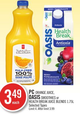 PC Orange Juice - Oasis Smoothies or Health Break Juice Blends