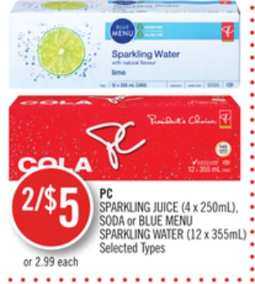 PC Sparkling Juice (4 X 250ml) - Soda or Blue Menu Sparkling Water (12 X 355ml)