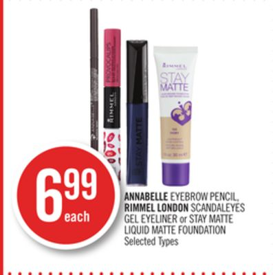 Annabelle Eyebrow Pencil - Rimmel London Scandaleyes Gel Eyeliner or Stay Matte Liquid Matte Foundation