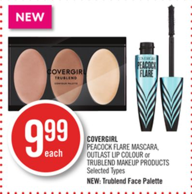 Covergirl Peacock Flare Mascara - Outlast Lip Colour or Trublend Makeup Products