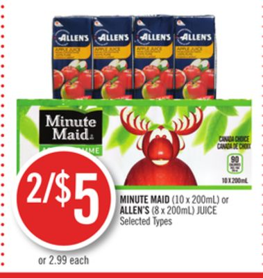 Minute Maid (10 X 200ml) or Allen's (8 X 200ml) Juice