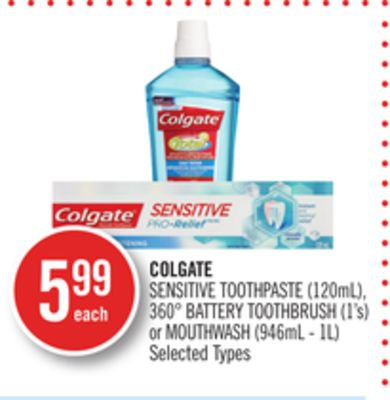 Colgate Sensitive Toothpaste (120ml) - 360° Battery Toothbrush (1's) or Mouthwash (946ml - 1l)
