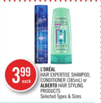 L'oréal Hair Expertise Shampoo - Conditioner (385ml) or Alberto Hair Styling Products