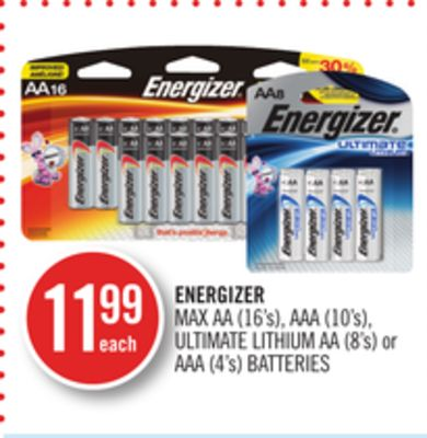 Energizer Max Aa (16's) - Aaa (10's) - Ultimate Lithium Aa (8's) or Aaa (4's) Batteries