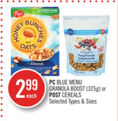 PC Blue Menu Granola Boost (325g) or Post Cereals