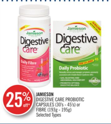 Jamieson Digestive Care Probiotic Capsules (30's - 45's) or Fibre (193g - 195g)