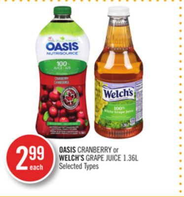 Oasis Cranberry or Welch's Grape Juice
