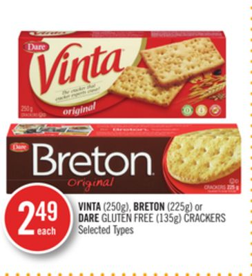 Vinta(250g) - Breton (225g) or Dare Gluten Free (135g) Crackers