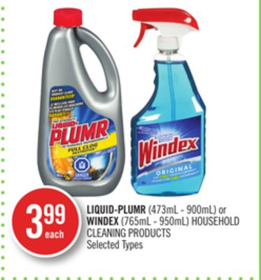 Liquid-plumr (473ml - 900ml) or Windex (765ml - 950ml) Household Cleaning Products