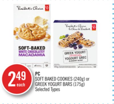 PC Soft Baked Cookies (240g) or Greek Yogurt Bars (175g)