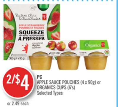 PC Apple Sauce Pouches (4 X 90g) or Organics Cups (6's)