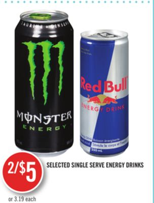 Selected Single Serve Energy Drinks