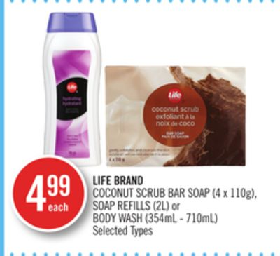 Life Brand Coconut Scrub Bar Soap (4 X 110g) - Soap Refills (2l) or Body Wash (354ml - 710ml)