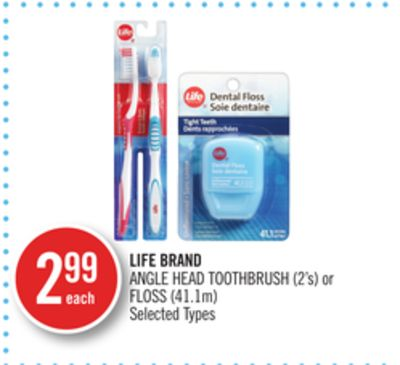 Life Brand Angle Head Toothbrush (2's) or Floss (41.1m)