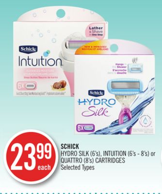 Schick Hydro Silk (6's) - Intuition (6's - 8's) or Quattro (8's) Cartridges