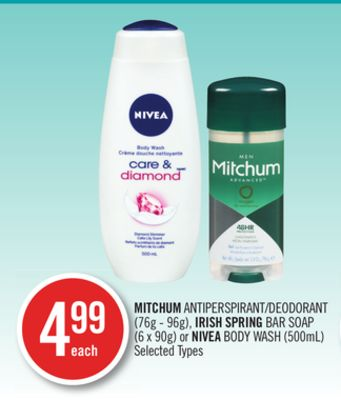 Mitchum Antiperspirant/deodorant (76g - 96g) - Irish Spring Bar Soap (6 X 90g) or Nivea Body Wash (500ml)