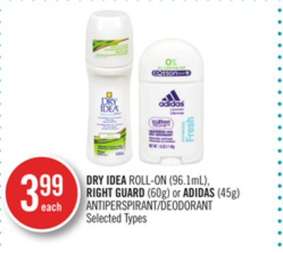 Dry Idea Roll-on (96.1ml) - Right Guard (60g) or Adidas (45g) Antiperspirant/deodorant