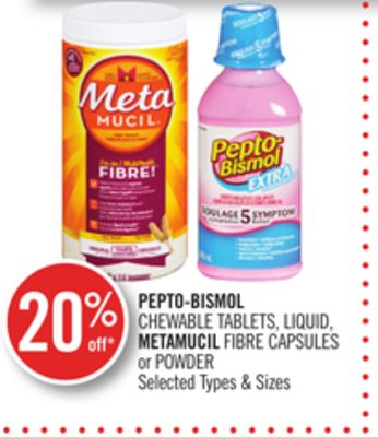 Pepto-bismol Chewable Tablets - Liquid - Metamucil Fibre Capsules or Powder