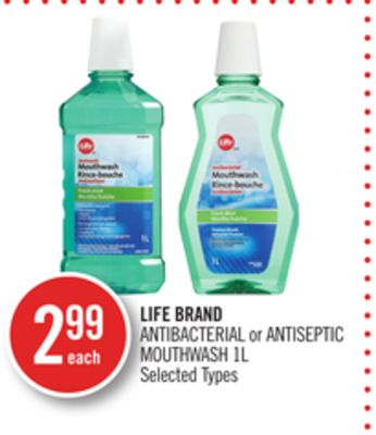 Life Brand Antibacterial or Antiseptic Mouthwash