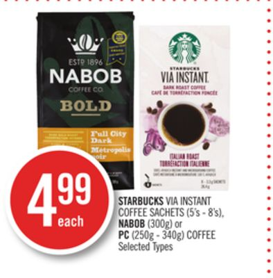 Starbucks Via Instant Coffee Sachets (5's - 8's) - Nabob (300g) or PC (250g - 340g) Coffee