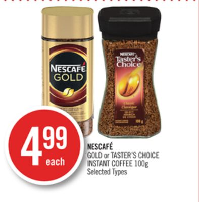 Nescafé Gold or Taster's Choice Instant Coffee