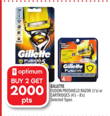 Gillette Fusion Proshield Razor (1's) or Cartridges (4's - 8's)