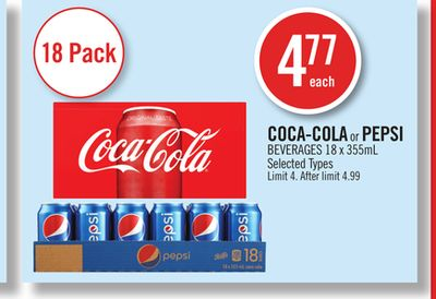 Coca-cola or Pepsi Beverages 18 X 355 mL