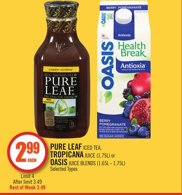Pure Leaf Iced Tea - Tropicana Juice (1.75l) or Oasis Juice Blends (1.65l - 1.75l)