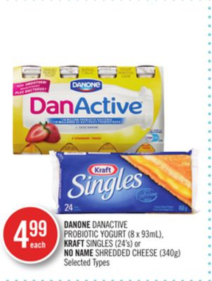 Danone Danactive Probiotic Yogurt (8 X 93ml) - Kraft Singles (24's) or No Name Shredded Cheese (340g)