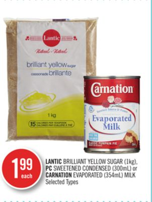 Lantic Brilliant Yellow Sugar (1kg) - PC Sweetened Condensed (300ml) or Carnation Evaporated (354ml) Milk