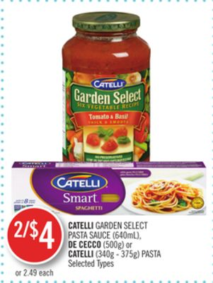 Catelli Garden Select Pasta Sauce (640ml) - De Cecco (500g) or Catelli (340g - 375g) Pasta