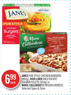 Janes Pub Style Chicken Burgers (800g) - High Liner Wild Pacific Salmon Fillets (454g) or Marie Callender's Frozen Entrées