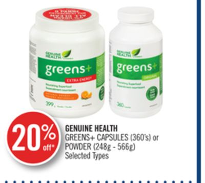 Genuine Health Greens+ Capsules (360's) or Powder (248g - 566g)