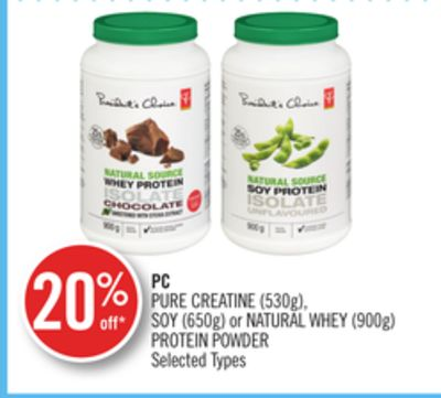 PC Pure Creatine (530g) - Soy (650g) or Natural Whey (900g) Protein Powder
