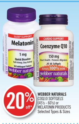 Webber Naturals Coq10 Softgels (45's - 60's) or Melatonin Products