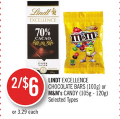 Lindt Excellence Chocolate Bars (100g) or M&m's Candy (105g - 120g)