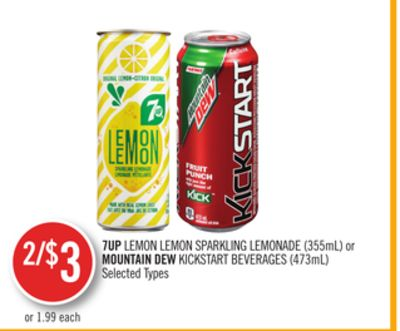 7up Lemon Lemon Sparkling Lemonade (355ml) or Mountain Dew Kickstart Beverages (473ml)