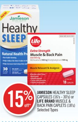 Jamieson Healthy Sleep Capsules (16's - 30's) or Life Brand Muscle & Back Pain Caplets (18's)