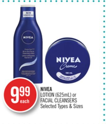 Nivea Lotion (625ml) or Facial Cleansers