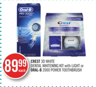 Crest 3D White Dental Whitening Kit With Light or Oral-b 2000 Power Toothbrush